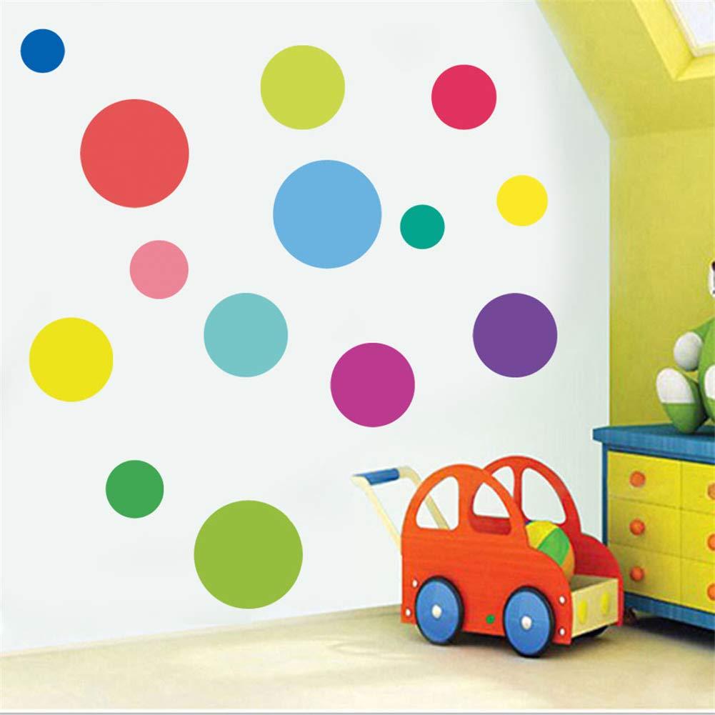 Ruikey Etiqueta de la Pared C/írculo de Color Vinilo Pegatinas Decorativas Pared Dormitorio Sal/ón Guarder/ía Habitaci/ón Infantiles
