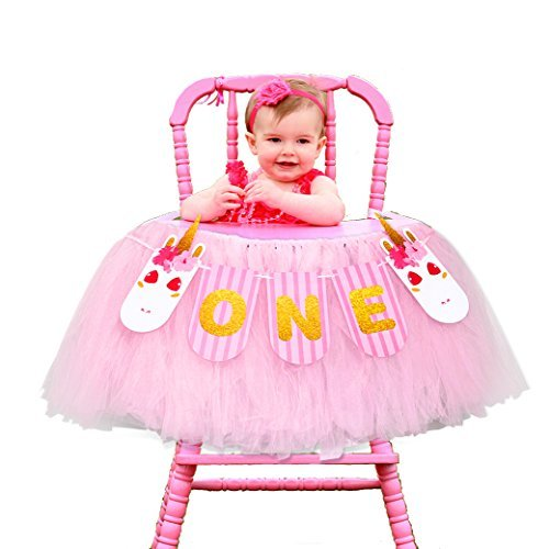 1st Birthday Girls Baby High Chair Tutu Skirt Decorations with Unicorn ONE Banner for Baby First Birthday Party Decoration Ideas Supplies