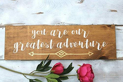 (Funlaugh You are Our Greatest Adventure Kids Room Decor Wood Wall Art Nursery Wall Art Large Wood Signs with Sayings Mahogany)