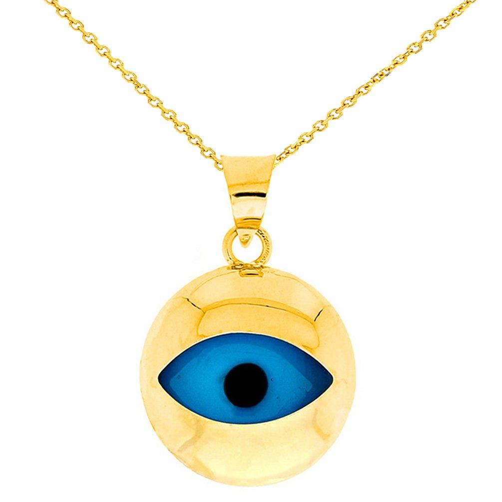 High Polish 14k Gold Simple Blue Evil Eye Pendant Necklace, 20''