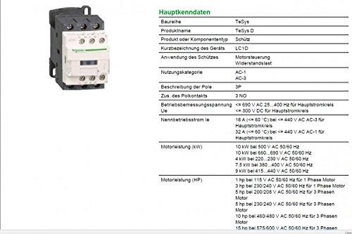 Schneider Electric LC1D18 °F7 TeSys D Contactor, 3P, 440 V 18 A AC-3 ...