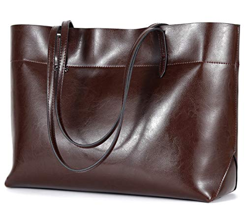 Covelin Women's Handbag Genuine Leather Tote Shoulder Bags Soft Hot Coffee (Retro Tote Leather)