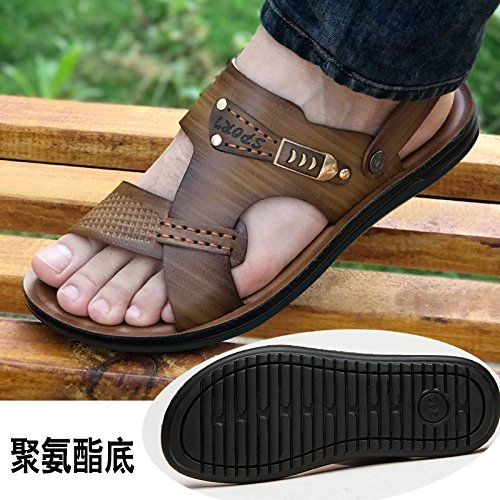 Xing Lin Sandalias De Hombre Los Hombres Sandalias De Cuero Auténtico Calzado De Playa De Verano Casual Coreano Zapatillas Antideslizante Dichotomanthes Abajo Khaki 1