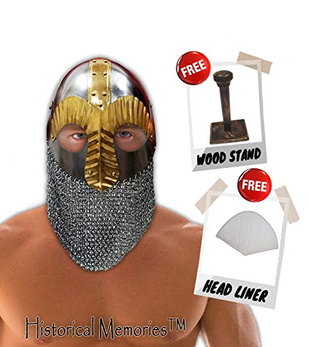 Historical Memories Medieval Steel Chainmail Crusader Helmet Warrior Armor Knight Adult Costume Functional,Chrome,Large