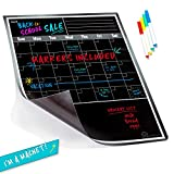 Large Dry Erase Monthly Magnetic Calendar Set for Refrigerator, Magnetic Black Board and Fridge Calendar with Multi-Color Chalk Markers Included