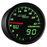 MaxTow Double Vision 2200 F Pyrometer Exhaust Gas Temperature EGT Gauge Kit - Includes Type K Probe - Black Gauge Face - Green LED Dial - Analog & Digital Readouts - For Gas Trucks - 2-1/16'' 52mm
