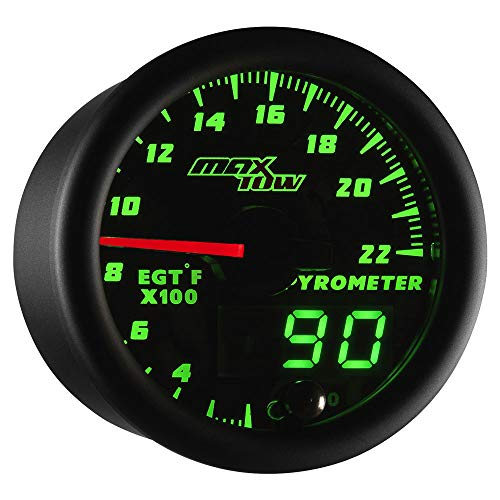 Exhaust Temperature Egt Gauge - MaxTow Double Vision 2200 F Pyrometer Exhaust Gas Temperature EGT Gauge Kit - Includes Type K Probe - Black Gauge Face - Green LED Dial - Analog & Digital Readouts - for Gas Trucks - 2-1/16