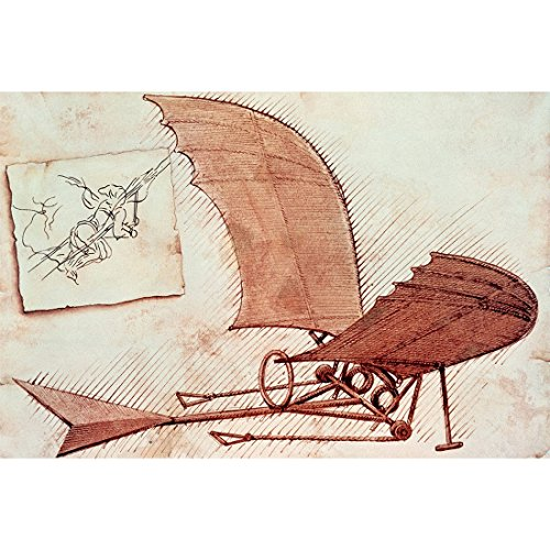 (Meishe Art Canvas Wall Art Pictures Posters Prints Inventions Flying Machine Drawings by Leonardo Da Vinci)