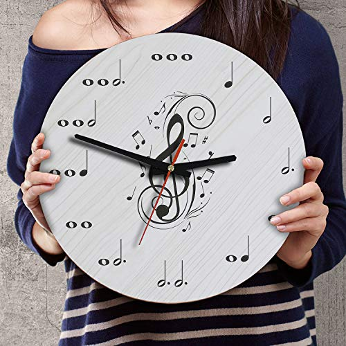 (12 Inch Silent Battery Operated Musical Notes Wood Wall Clocks Birthday Music Teacher Gifts for Men Women Teachers Instructors Singers Musicians Pianists Guitarists Students Music Note Decor (Ver 1))