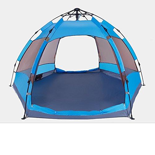 隣接する金属夕方QFFL zhangpeng テント自動増粘防雨屋外テント3-4人キャンプ場テントダブルファミリーキャンプテント2色オプション トンネルテント ( 色 : 青 )