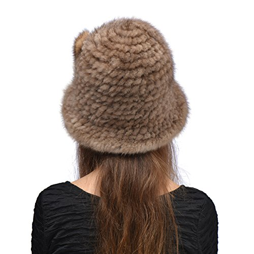 Bellefur Women two Tone Knitted Mink Beanie with Silver Fox Pom Pom Black&Pale Brown