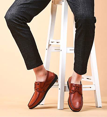 Colore Da Testa Brown Uomo dimensioni 41 Scarpe Eleganti Da Pelle Brown A Uomo In LXLA Da Uomo Mocassini Tonda Casual wOZYqHExx