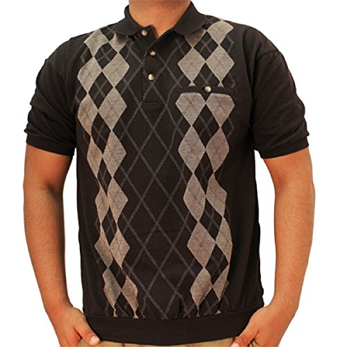 LD Sport Short Sleeve Jacquard Banded Bottom Shirt 6090-351 Black (XLarge)