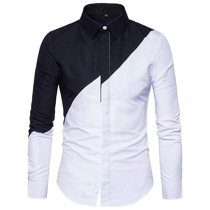 Blusa de Hombre de BaZhaHei, Camisetas de Hombre Patchwork Clásico de la Moda de Manga