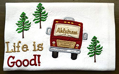 Custom Dish Towel, Camping Gift, RV Decor, Camping Dish Towel, Glamping, RV Accessories, Flour Sack Towel, RV Gift, Camper Decor, Top Quality, Choice of RV Color, (Option to add name in window) by Embroidery Hut (Image #5)