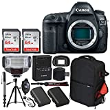 Canon EOS 5D Mark IV DSLR Camera (Body Only) + SanDisk 64GB Ultra UHS-I SDXC Memory Card (Class 10) + Vivitar Series 1 Trolley Backpack Case + TTL Digital Flash + Quality Tripod – Professionals Bundle For Sale