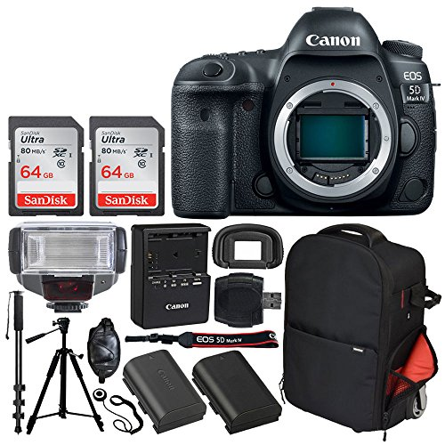 Canon EOS 5D Mark IV DSLR Camera (Body Only) + SanDisk 64GB Ultra UHS-I SDXC Memory Card (Class 10) + Vivitar Series 1 Trolley Backpack Case + TTL Digital Flash + Quality Tripod - Professionals Bundle (Canon Eos 5d Mark 3 Best Price)