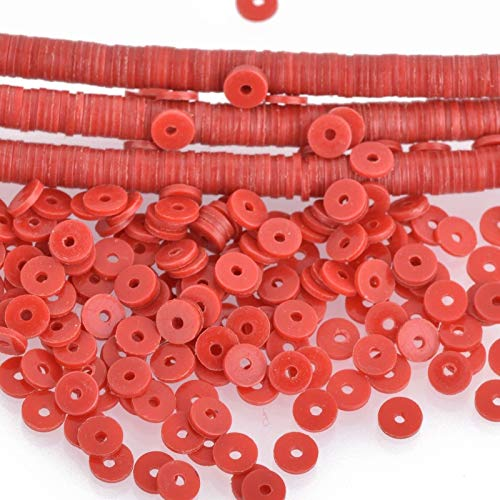 """Used, 4mm Recycled Vinyl Beads RED 16"""" Strand x550-575 Beads for sale  Delivered anywhere in USA"""
