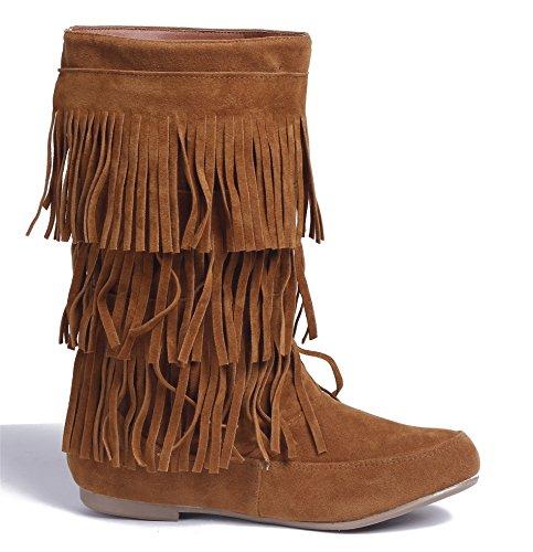Donna Punta Brun Shoes With Heels Frange Boots Basso Eux45 Tonda Low Tirare Ageemi qFZ7wn5xpp
