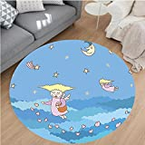 Nalahome Modern Flannel Microfiber Non-Slip Machine Washable Round Area Rug-Of Little Cartoon Flying Girls Hearts On The Night Sky With Stars And Clouds Blue Yellow area rugs Home Decor-Round 67''