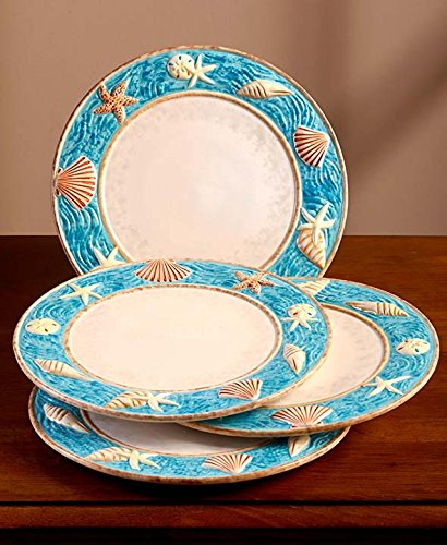 Seashell Coastal Cottage Dinnerware Dinner Plates 10-1/2u0026quot; Dia. Hand Painted : earthenware dinner plates - pezcame.com