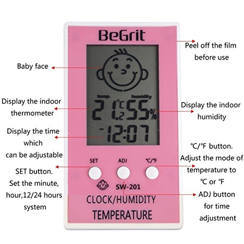 BeGrit Room Hygrometer Thermometer Digital Humidity Temperature Monitor for Indoor Home Office Baby Room Nursery Greenhouse with Comfort Baby Icon & Clock Pink