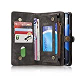 RAYTOP [Magnetic Removable Phone Case] + [10 Card Holders] + [4 Large Pockets] Synthetic Leather Wallet for Samsung Galaxy S7 [Magnet + Zipper + Button Closure] Grayish Black High Storage