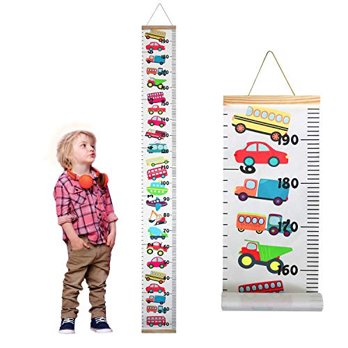 Familamb Kids Growth Chart Wall Ruler Wood Frame Fabric Canvas Height Measurement Ruler for Boys, Girls, Toddlers Great for Nurseries, Kids Room, Wall Decor Colorful Car (Best Toddler Boy Rooms)