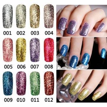 Nail Gel & Polish - 12 Colors Bright Diamond-Sliver Glitter Micro Grain Nail Art Uv Gel Polish Gorgeous Soak Off - Glitter Nail Gel Polish Neon Lamp NailsLamps Polishes - Uv Kit - 1PCs -