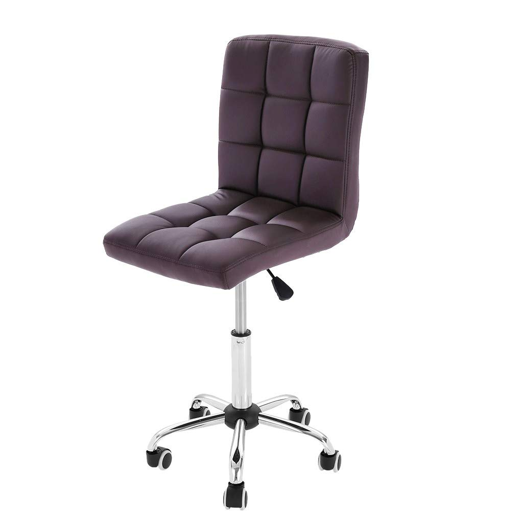 Sonmer No Arms Rest Tilt Lift Chair Office Chair, 360° Free Rotation, Aluminum Alloy Prong Base, Explosion-Proof Chassis, US Stock - Two-Day Shipping (Brown)