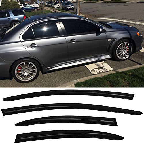 (Window Visors Fits 2008-2017 Mitsubishi Lancer & Evo | Smoked Aero JDM Deflectors Stick On by IKON MOTORSPORTS | 2009 2010 2011 2012 2013 2014 2015)