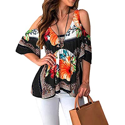 PASATO Off-Shoulder Womens Plus Size Printed Tee Short Sleeve V-Neck Folk Custom T-Shirt Casual Tops Blouse