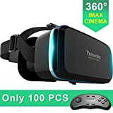 Pansonite Virtual Reality VR Headset 3D Glasses With Remote Controller- Best Immersive Experience for Gaming, Movies & Video-Adjustable Lenses & Strap For IOS/Android Smartphones