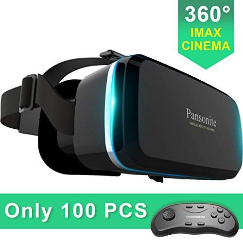 Pansonite Virtual Reality VR Headset 3D Glasses With Remote Controller- Best Immersive Experience for Gaming, Movies & Video-Adjustable Lenses & Strap For IOS/Android Smartphones by Pansonite