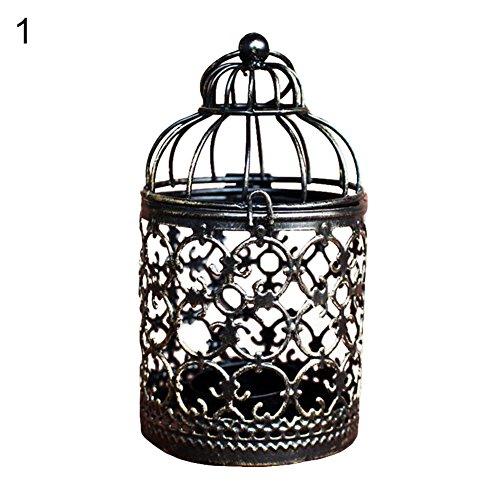 lightclub Vintage Hollow Candle Holder Candlestick Lantern Hanging Table Home Decoration 1#