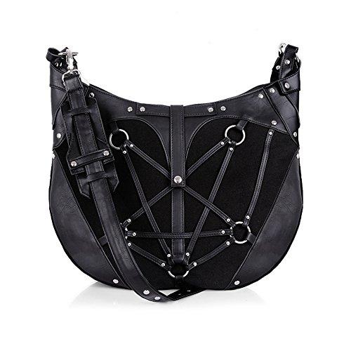 PENTAGRAM HOBO BAG - Black, harness Purse, occult, black fashion