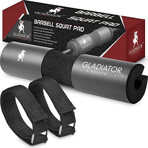 Gladiator Strength Barbell Squat Pad– 17.5'' Extra Thick Barbell Pad / Squat Sponge For Lunges, Hips Thrusts & More– Perfect Fit For 2'' Olympic & Smith Machine Bars-Bonus Straps Included