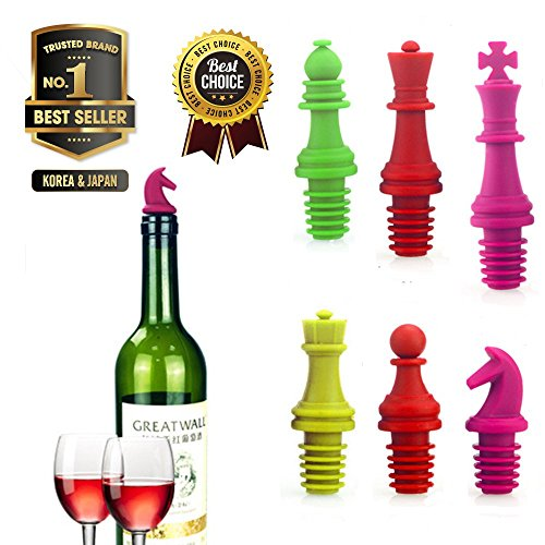 The Best Of Super Versatile Chess Shaped Silicon Caps - Bottle Stopper ( 6Pack ) For Wine | Beer | Champange | Alcohol | Vodka | Soy Sauce | Vinegar-Weather Resistance And Ultraviolet UV-Random Colors