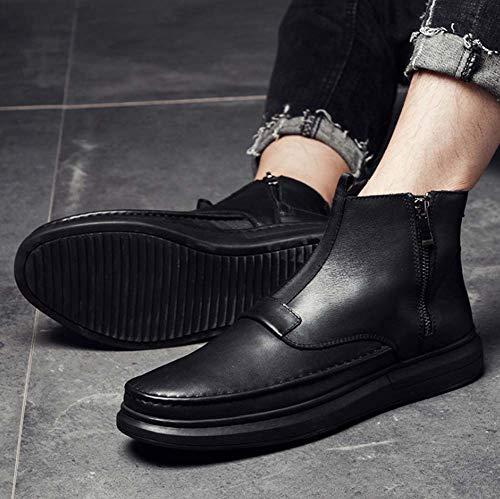 Hylff Cómodos Botines Cremallera Hombres Ejecutivas Martin Black Vaquero Alta Tobillo Y Cuero De Con Zapatos Trabajo Ayuda Botas rA1r8qw