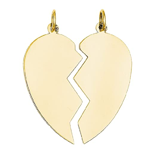 Amazon 2 piece heart charm pendant in 14k yellow gold jewelry 2 piece heart charm pendant in 14k yellow gold mozeypictures Image collections