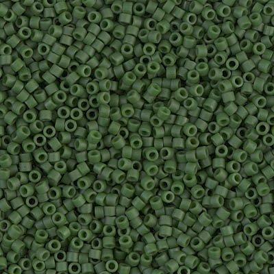 Miyuki Delica 11/0 Cylinder Seed Beads - Dyed SF Op Jade Green - DB0797 5 grams (Jade Barrel Beads)