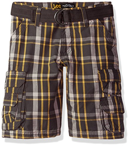 Plaid Boys Shorts (LEE Big Boys' Dungarees Belted Wyoming Cargo Short, Gray Kendall Plaid, 12 Regular)
