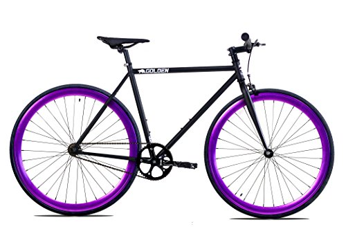 Golden Cycles Fixed Gear Bike Steel Frame Fixie with Deep V Rims Collection (Vader Purple, 52)