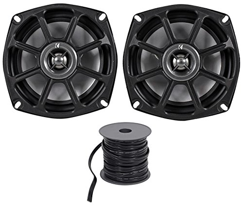 Kicker 10PS52504 5.25 Harley Davidson Motorcycle Speakers+Marine Speaker Wire
