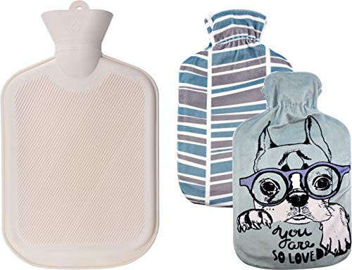 (WINNPRIME Hot Water Bottle 2 Liters, Natural Rubber Hot Water Bag with 2 Replaceable Soft Fleece Covers, Great for Pain Relief, Hot Compress and Heat)