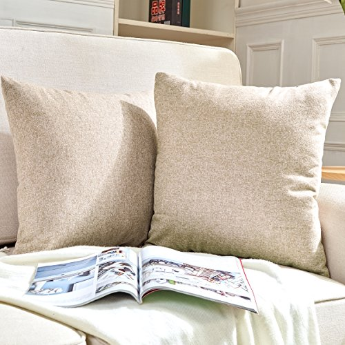 Hey Tang Pack of 2, Cotton Linen Soft Soild Decorative Squar
