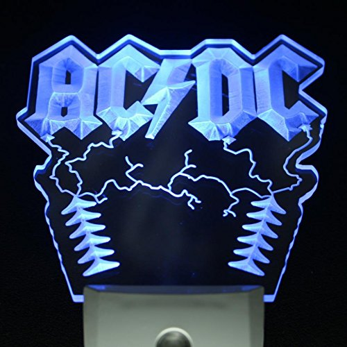 L'amazo ACDC AC/DC Rock n Roll Music Beer Home Bar Room Decor Day/Night Sensor Led Night Light Sign (BLUE)