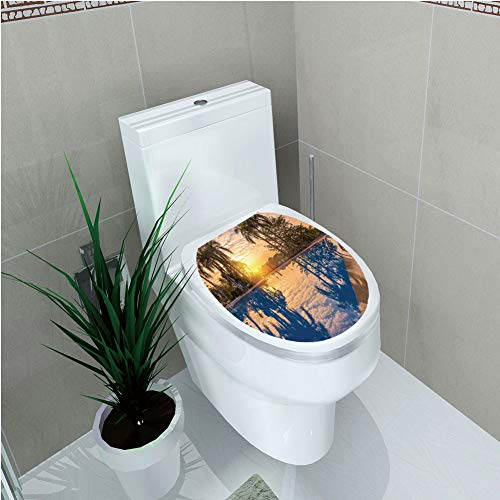 Toilet Sticker 3D Print Design,House Decor,Luxury Swimming Pool Reflexion in Morning Sunrise Modern Nature Cloudscape Sunshine,for Young Mens,W11.8