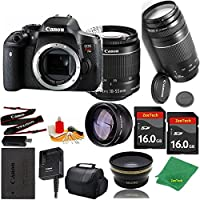 Great Value Bundle for T6I DSLR – 18-55mm STM + 75-300mm III + 2PCS 16GB Memory + Wide Angle + Telephoto Lens + Case