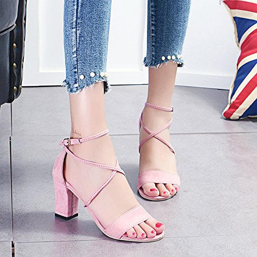 Suede Shoes Female With Mouth The Season Single A Students KPHY Female Black Heels Coarse Spring Autumn And Shoes High The New Bandage A All Match Shallow gvwOpxw